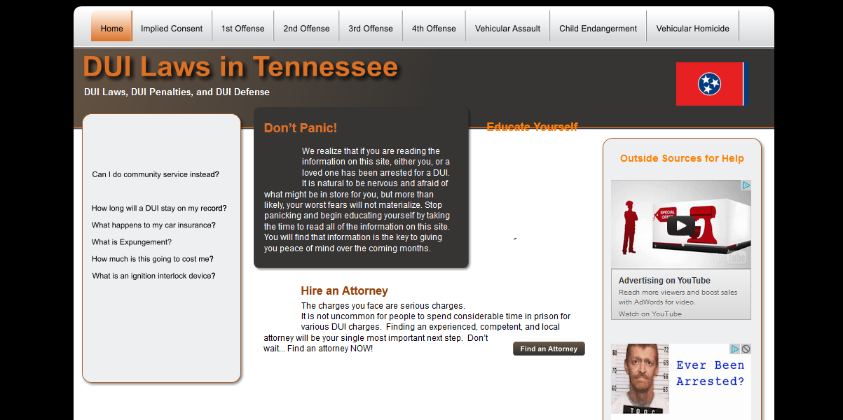 DUI Laws in Tennessee